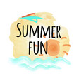 summer fun poster with abstract sky and sea water vector image vector image