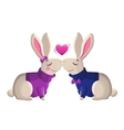Two kissing rabbits isolated on white background vector image