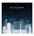 winter night in dusseldorf night city vector image vector image