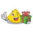 with gift pineapple slice in a cartoon fridge vector image vector image
