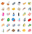 Woman phone icons set isometric style vector image