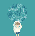 Young boy in an astronaut suit with education icon vector image