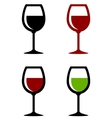 glossy wine glasses set vector image