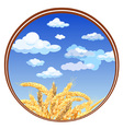 spikelets against the sky in a circle vector image