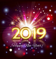 2019 golden number happy new year greeting card vector image