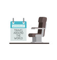 airplane chair with wanderlust label vector image