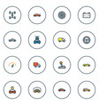 automobile icons colored line set with station vector image vector image