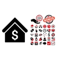Bank Office Flat Icon with Bonus vector image vector image