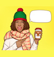black woman in warm clothes with cup coffee vector image