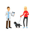 blonde woman at the veterinary doctor with her pet vector image vector image