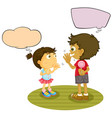 boy and girl talking with speech balloon vector image vector image