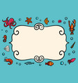 card template marine theme blue card with vector image
