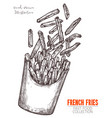 cardboard box with french fries hand drawn sketch vector image