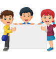 cartoon happy kids holding blank sign vector image vector image