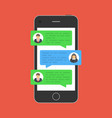 chat message on smartphone vector image vector image