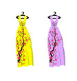 cherry blossom on long dress for happy chinese vector image