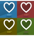 Color set Heart Flat modern web button with long vector image vector image