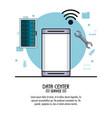colorful poster of data center service with vector image vector image