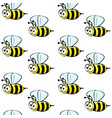 cute bees seamless pattern on a white background vector image