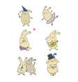 cute cartoon bunnies funny hares happy rabbit vector image