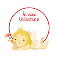 cute cartoon cupid with hearts in frame vector image