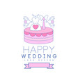 cute line logo design with cake dress and tie on vector image vector image