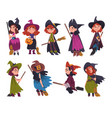 cute little witches collection girls wearing vector image vector image