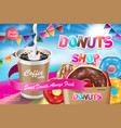 delicious donut ads with latte coffee advertising vector image vector image