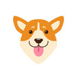 dogs head with pink tongue vector image