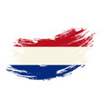 dutch flag grunge brush background vector image vector image