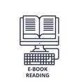 e-book reading line icon concept e-book reading vector image