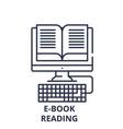 e-book reading line icon concept e-book reading vector image vector image