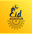 eaid mubarak festival greeting on yellow vector image vector image