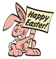 Easter bunny with sign vector image vector image