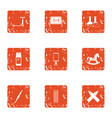 evaluation icons set grunge style vector image