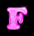 F letter pink bling girly vector image vector image
