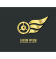 Golden wings with wheel for your logo design vector image