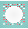 Greeting card with hearts on a blue vector image vector image