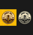honey bee set two colored styles emblem vector image vector image