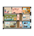 house cross section with room interiors vector image vector image