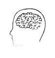 human face silhouette with brain inside in black vector image vector image