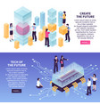 isometric high technology banners set vector image vector image