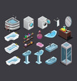 isometric isolated bathroom interior icons vector image