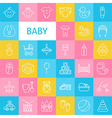 Line Art Baby and Newborn Toys Icons Set vector image