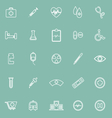 Medical line icons on green background vector image vector image