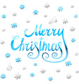 Merry Christmas - blue glittering lettering design vector image