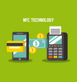 mobile payments using smartphone dataphone vector image