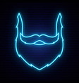neon style blue beard and mustache bright