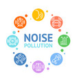 noise pollution concept card round design vector image vector image