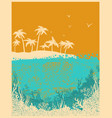 ocean waves and tropical island in summer hot day vector image vector image
